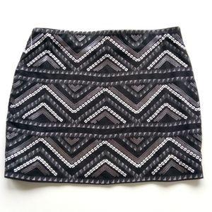 🆕 Express Black White Silver Sequence Mini Skirt